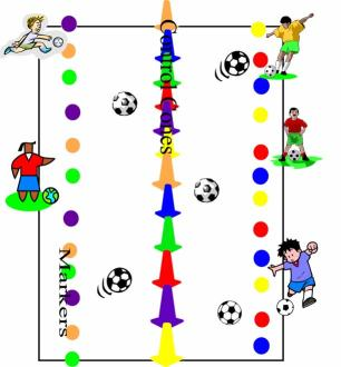 soccer kicking game set up
